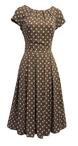 Th annes Robe Marron Neuf Trapze Pois 1930 Vintage la 40 WWII Viva Style Rosa Femmes campagnarde de Annes 8fnR8A6B