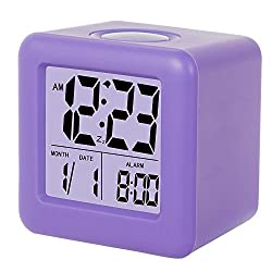 Digital Alarm Clock, SkyNature LED Soft Cube Snooze Light Alarm Clock with Time and Date (Purple)