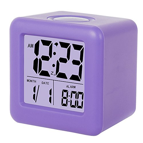 SkyNature LED Alarm Clock Cube Soft Silicon Alarm Clock with Time and Date (Purple)