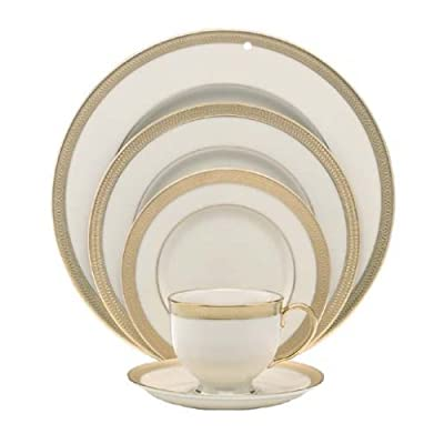 Lenox Lowell 5-Piece Place Setting, Ivory - Crafted of Lenox ivory fine china accented with 24 karat gold Dishwasher-safe 5-piece placesetting includes dinner plate, salad plate, bread plate, cup, and saucer - kitchen-tabletop, kitchen-dining-room, dinnerware-sets - 41H5MHZ253L. SS400  -