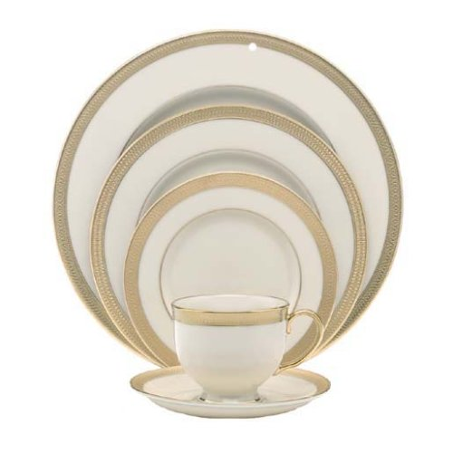 Lenox Lowell Gold Banded Ivory China 5-Piece Place Setting, Service for (Dinnerware Set One Place Setting)