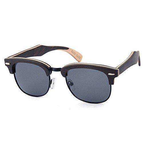UV protección de hechas madera Retro de que de semi polarizadas alta reborde mano gafas de la hombres conduce decoración de la Negro sol sin los Remache Beach Sung calidad de sol de de sol gafas a las gafas 6BqTfp