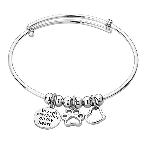 (Infinite Memories Bangle Bracelet for Women Love Heart Paw Print Charms, Engraved You Left Paw Prints On My Heart)