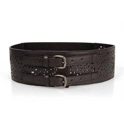 BMC Double Buckle Style Thick Elastic Cut Out Faux Leather Fashion Belt