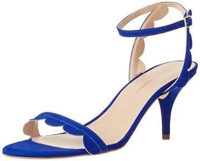 Loeffler Randall Women's Lillit Scalloped Kitten Heel Sandals, Blue, 5 B(M) US