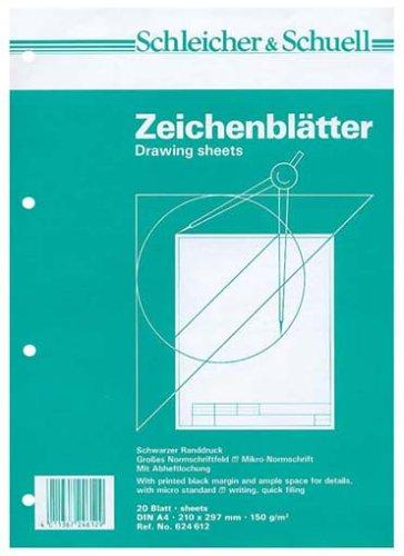 Schleicher & Schuell 624612 - Zeichenpapier A4 20 Blatt mit Rahmen hz256246120 Schulbedarf Zeichnen