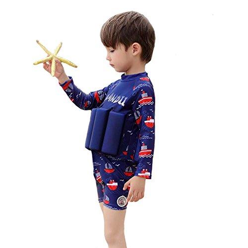 Swimwear Flotation (Lemandii UPF 50+ Sun Protection L/S Floatation Swimsuits with Adjustable Buoyancy for 1-10 Years Baby Girls/Boys)