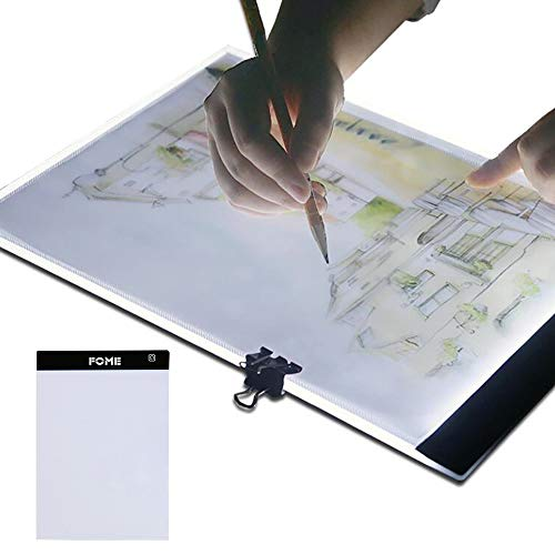 A4 Light Box, FOME Ultra-thin A4 Tracing Light Box USB Power Adjustable Brightness LED Drawing Board Tracing Pad Artcraft Tracing Light Pad for Artists Drawing Sketching Animation Stencilling