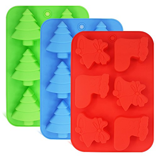 3 Pack Silicone Molds, Shapes of Christmas Trees, Socks and Bells, FineGood Baking Trays for Holiday Cakes, Candies, Chocolates, Jelly, Soap - Green,Blue,Red ()