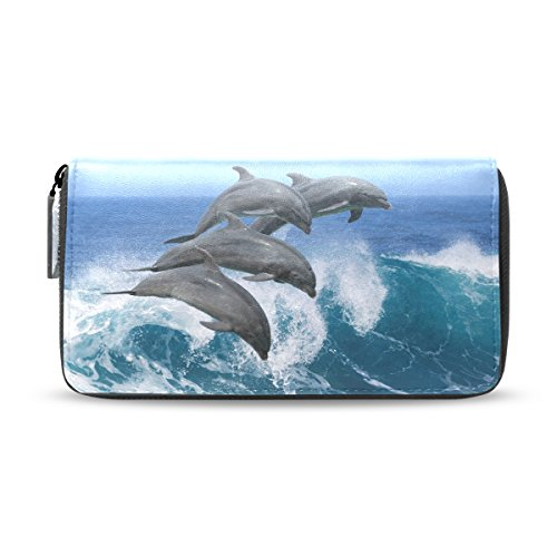Wave Leather pu And Leather Long Purse Blue Wallets Handbags Zipper Dolphin ALAZA Clutch AOTfWq