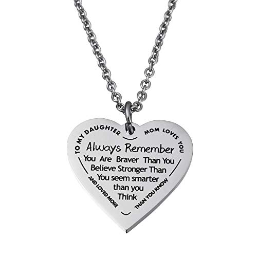Haoflower Daughter Heart Pendant Necklace You are Braver Than You Believe Engraved Motivational Message Stainless Steel Jewelry Gifts from Mom Dad (to My daugher - Mom Loves You)