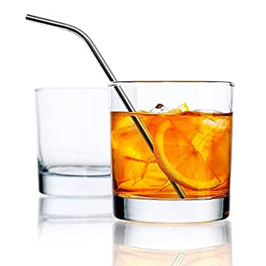 Clear Set of 4 Double Old Fashion (DOF) Heavy Base Rocks Drinking Glasses 10oz with 4 Stainless Steel Straws
