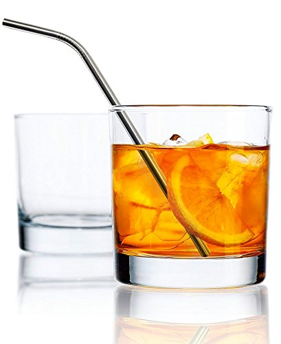Glass Highball Base - Clear Set of 4 Double Old Fashion (DOF) Heavy Base Rocks Drinking Glasses 10oz with 4 Stainless Steel Straws