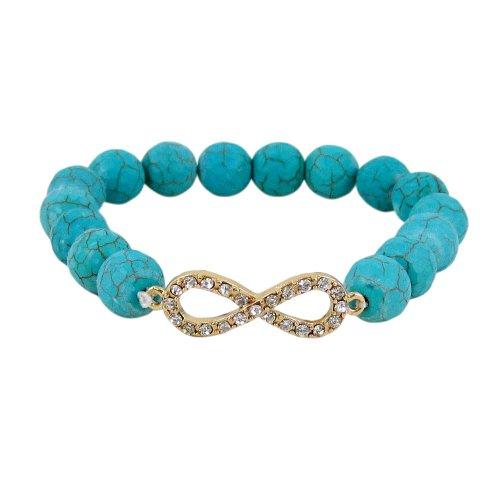 Infinity Beaded Stretch Bracelet - Infinity Beaded Stretch Bracelet, Teal Blue