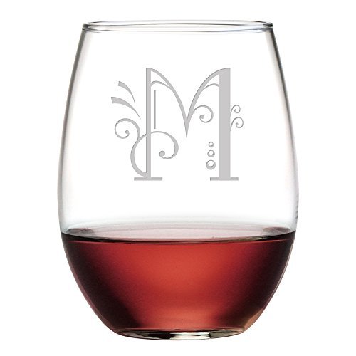 (Susquehanna Glass Monogrammed Stemless Glasses with Sand Etched Whimsical Font Letter, Set of 4, M, 15)