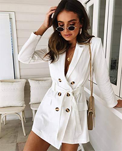 Double lgant Dress Hiver Casual Volant Automne Mince Lady Boutonnage Blanche Jupe Femmes Office Costume White Blazer aEdqw1x