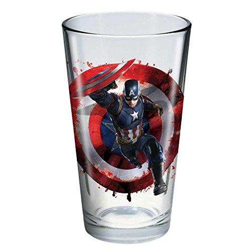 Captain America 3: Civil War 'Toon Tumbler® 16 oz. Pint Glass (Captain America) (Shot Glass Captain America)