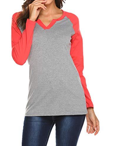 Locryz Women Raglan Long Sleeve Color Block Cotton Loose Baseball Blouse Tops...