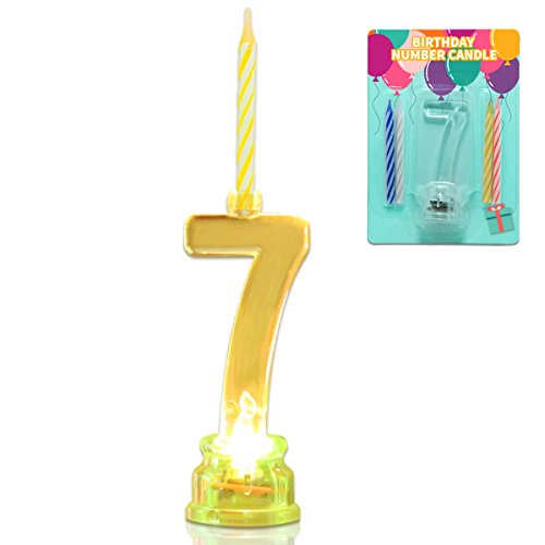 Novelty Place Multicolor Flashing Number Candle Set, Color Changing LED Birthday Cake Topper with 4 Wax Candles (Number 7) - Seven Candles