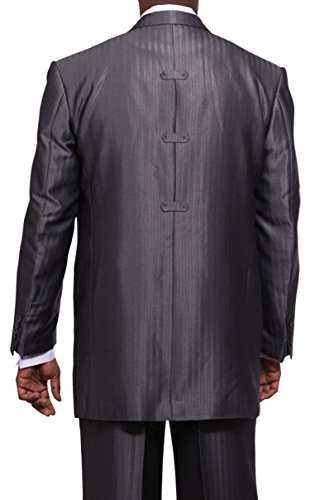 Milano Moda Herring Bone Stripe Fashion Suit with Vest & Pants 5264 Grey-46L by Milano Moda (Image #1)