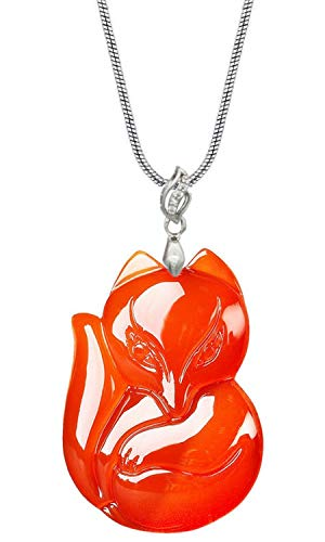 COOLSOME Women's Red Agate Fox Queen Pendant Necklace Grounding Stone Protection Wing ()