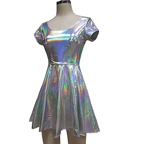 Pinda Holographic High Waisted Flare Skater Dress (L, (Dance Costumes High School Musical)