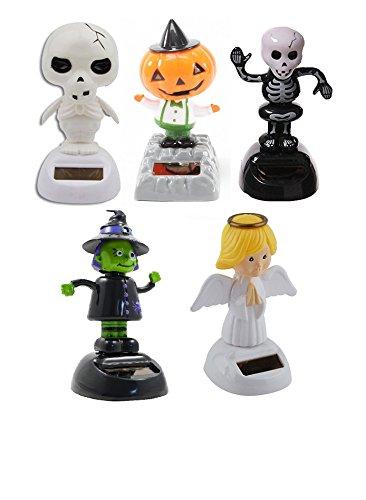 [Set of 5 Mstechcorp, Solar Toy Dancing Skeleton Pumpkin for Halloween Party Games Bobble Head Ghost - USA SELLER!!] (Bobble Head Pumpkin Halloween Costume)