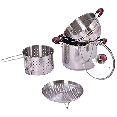 CHEFJOY 5PC Stockpot Set Stainless Steel Home Cookware Pasta Cooker Set w/Lid and Steamer Inserts 7-Quart