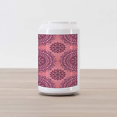 (Ambesonne Purple Mandala Cola Can Shape Piggy Bank, Filigree Artwork Inspired Bohemian and Oriental Display, Ceramic Cola Shaped Coin Box Money Bank for Cash Saving, Coral Fuchsia)