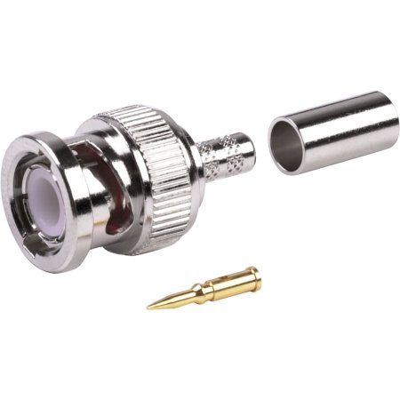 BNC Male Coax Connector - BAG of 25 - for RG8X - Belden 9258 - CommScope WBC240 - Times LMR-240 LMR240 - Andrew CNT240 - Remee 1600 - RG-8x - Mini8 Coax - Coaxial Cable Crimp Connector
