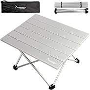 SYOURSELF Folding Camping Table, Portable Aluminum Camp Table Desk Lightweight Durable Compact Roll Up Picnic