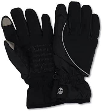 Timberland Men's Commuter Soft Shell Glove Printed Logo with Touchscreen Technology, Black/Grey, Medium