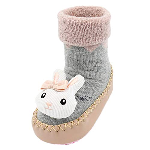 Price comparison product image Inkach Baby Anti-Slip Slipper Floor Socks | Toddler Kids Soft Bottom Winter Knit Non-Slip Booties Shoes (Age: 18M-24Months/Label Size: 14, White)