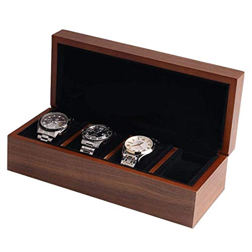 Faced Wooden Ring - Wood Watch Box,with Ring Storage Bag Vintage Handmade Watch Box for Men/Women Watches (4 Slot)