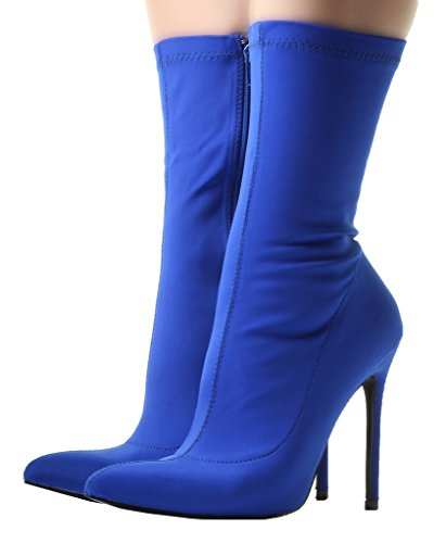 Ladies Sexy Black Pointy Toe Wide/Slim LYCRA STRETCH Ankle Mid Calf High Stilleto Heel Zip Up Shoes Boots Blue CLTUwF5W