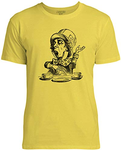 Austin Ink Apparel Mad Hatter Alice's Adventures in Wonderland Unisex Womens Soft Cotton Tee, Bright Yellow, X-Large