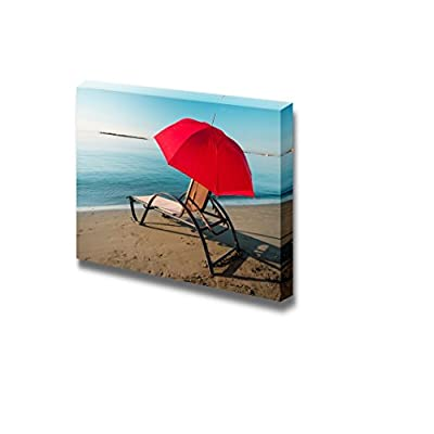 Delightful Technique, Tranquil Mediterranean Morning Beach with Red Umbrella and Chair, Premium Creation