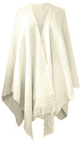 Reversible Ladies Cape (Crazy Girls Ladies Diamond Print Knitted Cardigan Reversible Poncho Aztec Womens)