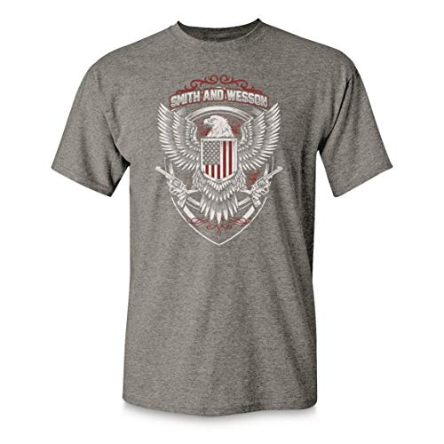 Smith & Wesson Men's Flag and Seal Shirt, Nickel Heather, XL