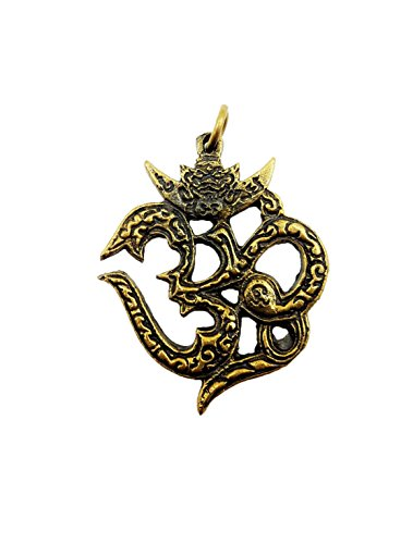 [Brassy om ohm aum sacred symbol hindu god deity sign hinduism success with amulet box & necklace] (Secret Garden Musical Costumes)