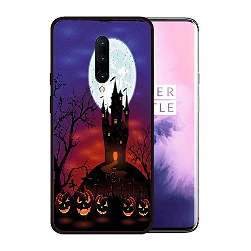 Case for OnePlus 7 pro,Silicone Cover and Tempered Glass 2 Materials,Non-Slip, Anti-Drop, Anti-Scratch,Depict- Halloween Decorations,Gothic Haunted House Castle Hill Valley Night Sky
