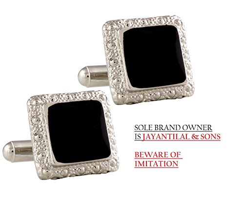 (TRIPIN Men's Black Silver Square Shaped Cufflinks In Red Colour)