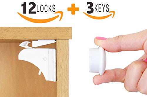 Baby Proofing Magnetic Cabinet Locks Set by UMKA – 12 Locks + 3 Keys with Extra-Strong 3M Adhesive Locks - Toddler Safety for Kitchen Drawers, Cupboards & Closets