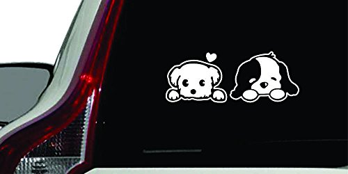(Puppy Couple Peeking Car Vinyl Sticker Decal Bumper Sticker for Auto, Cars, Trucks, Walls, Windows, and More. (WHITE))
