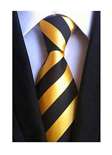 (Elfeves Men's Modern Striped Patterned Formal Ties College Daily Woven Neckties (One Size, Golden Black))