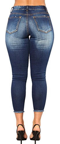 Femmes dchires Off Bleu Distressed Denim Cut Pantalon Bodycon Pantalons Skinny Jeans Dtruit dcontract rrAqdxIp