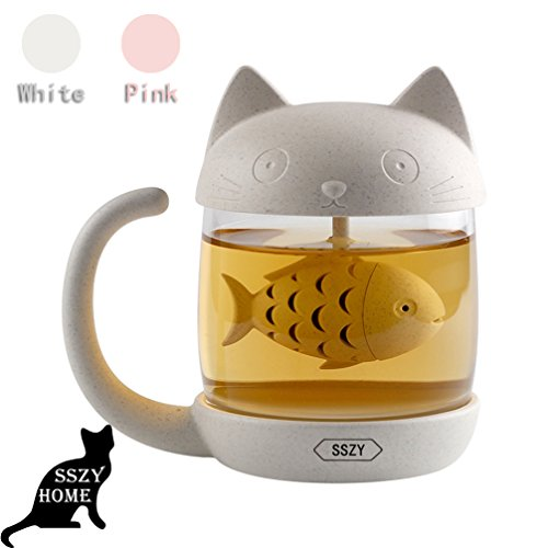 8 5Oz Glass Teacup  Cute Cat Tea Cup With Fish Filter  Creative Cats Tail Coffee Mug Tea Lovely Cup For Children Child Christmas Gift