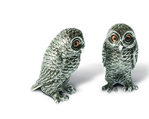 (Vagabond House Pewter Metal Owl Salt and Pepper Shaker Set with Hand-Painted Eyes 3.75