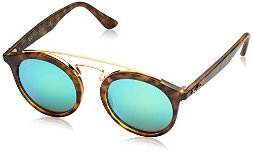 Ray-Ban INJECTED UNISEX SUNGLASS - MATTE HAVANA Frame GREEN MIRROR GREEN Lenses 46mm - Ray Ban Havana Matte