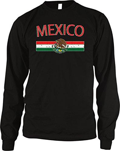 - Mexico Flag and Country Emblem Men's Long Sleeve Thermal Shirt, Amdesco, Black Medium